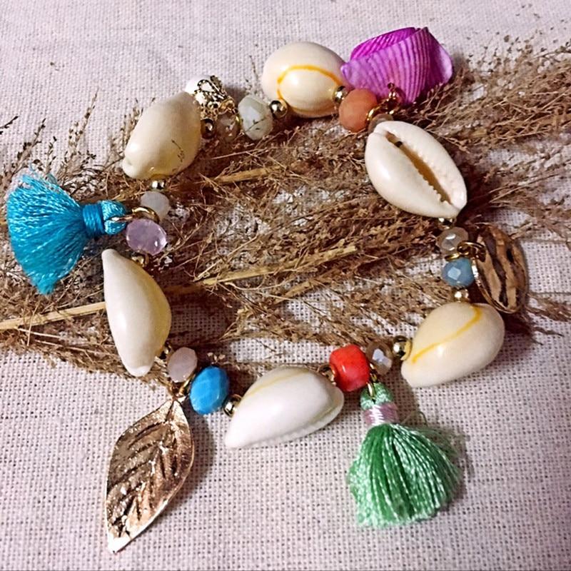 Dongmu Jewllery New 2017 Handmade Elastic Shell Bracelet For Women Beaded Bracelet Natural Stone Tassel Christmas Gifts Fashion