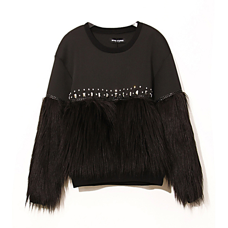 Beading Knitting Faux Fur Sweep Sleeves Sweatshirt Women O neck Long Sleeves Winter Cotton Hoodie Clothing FS0502