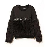 Beading Knitting Faux Fur Sweep Sleeves Sweatshirt Women O neck Long Sleeves Winter Cotton Hoodie Clothing FS0502