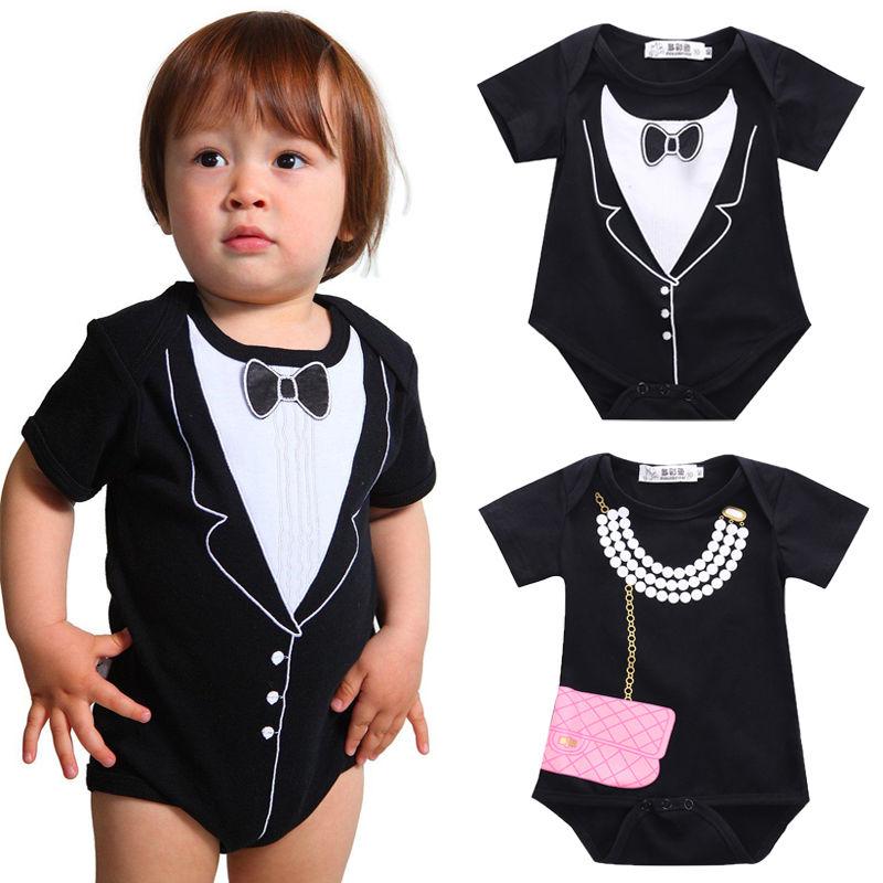 Newborn Toddler Infant Baby Boy Tuxedo Formal Romper