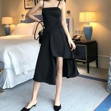 Womens Dress Summer Sexy Maxi Long Evening Party Beach Dresses Vintage Irregular Black Sling