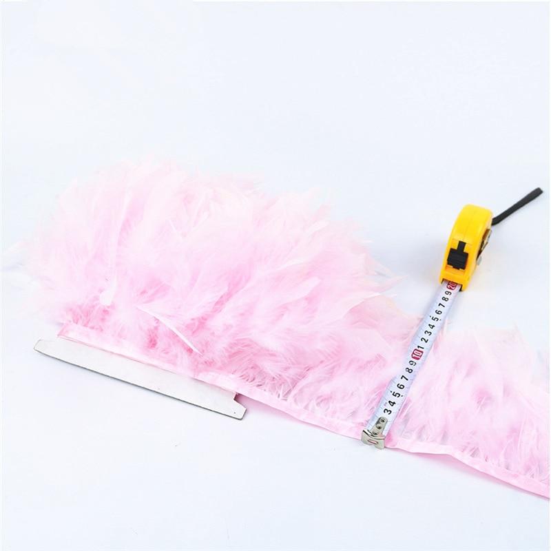 Nuevo 10 metros de plumas de pavo bellas y esponjosas franja de cinta - Artes, artesanía y costura - foto 4