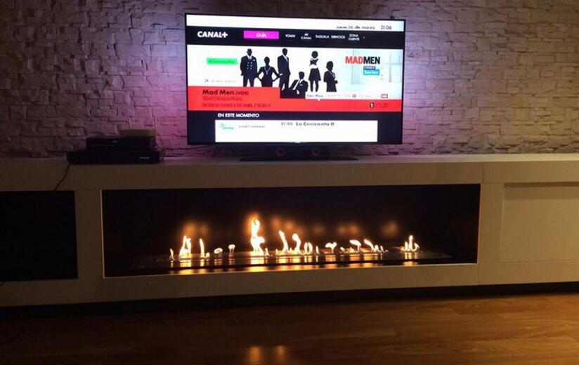 36 Inch  Real Fire RS485  RS232 Dry Contact Intelligent Smart Ethanol Burning Fireplace Insert