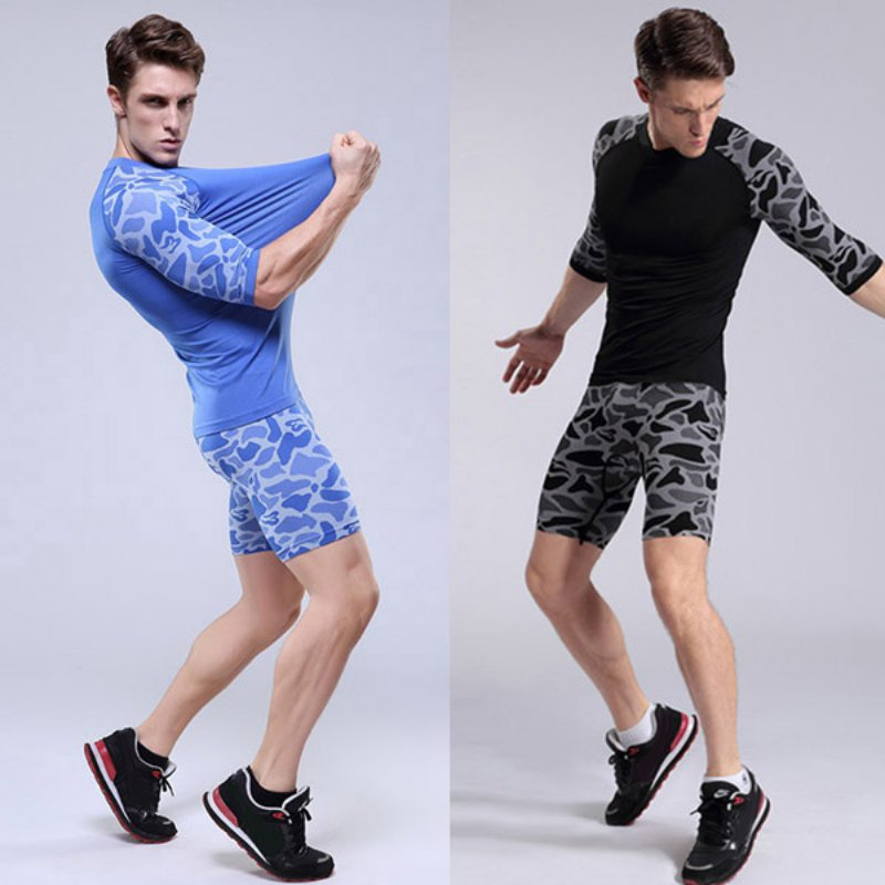 Men Sports Compression Wear Short Pants Athletic Animal Print Short Pants