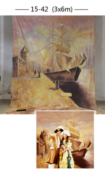 Professional customized 10x20ft Hand-Painted muslin Scenic Photo Backdrop Sailing boat photography studio Background wedding