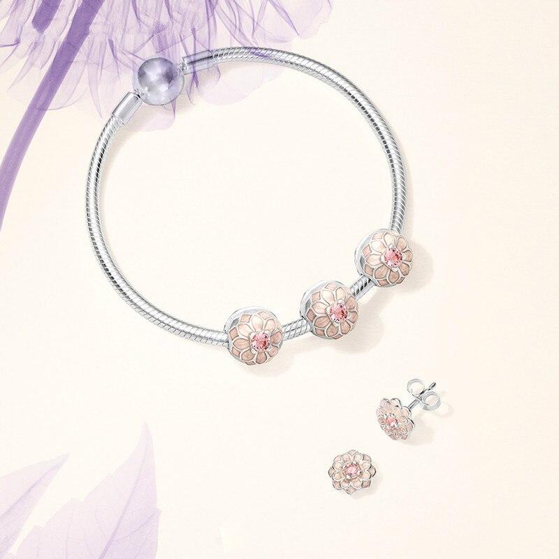 S925 argent Blooming Dahlia Clip ensemble Signature Bracelet Fit bricolage Original bijoux amour Bracelets saint valentin présent