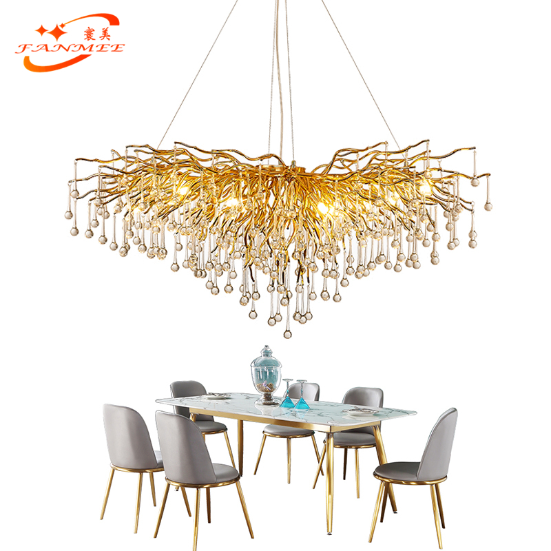 Modern LED Crystal Glass Drops Chandelier Lighting Aluminum Branch Chandelier Hanging Light Lustre de Cristal Chandelier