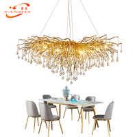Modern LED Crystal Glass Drops Chandelier Lighting Aluminum Branch Chandelier Hanging Light Lustre de Cristal Chandelier Lamp