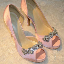 Women's Satin Rhinestone Peep Toes Platform Pumps Wedding Evening Party Prom High Heels Sandals Lady Formal Dress Shoes