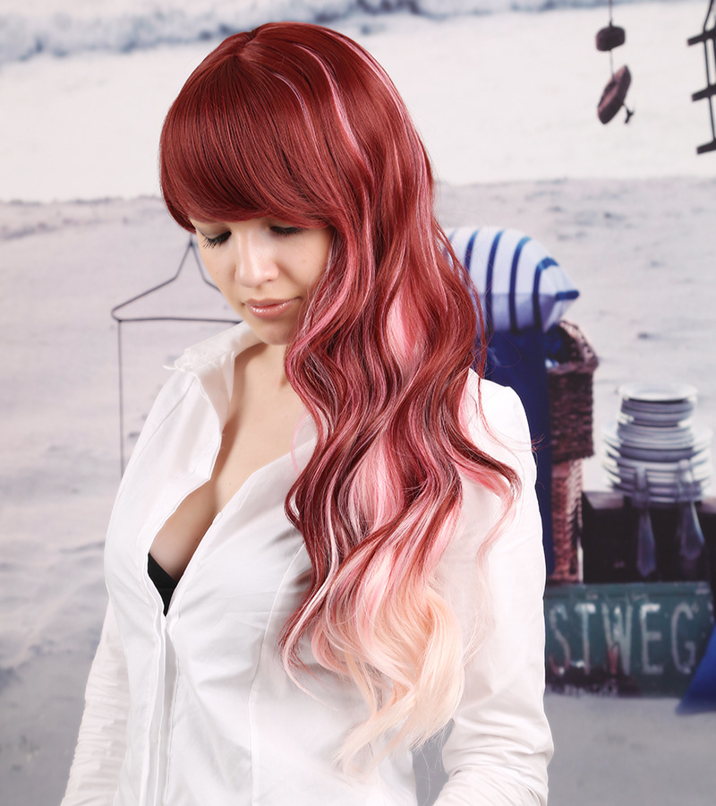 Promotional sexy ladiess hair medium long fashion style wavy promotional sexy ladiess hair medium long fashion style wavy curly red wig with highlights white mixed color wigs womengirl on aliexpress alibaba pmusecretfo Images