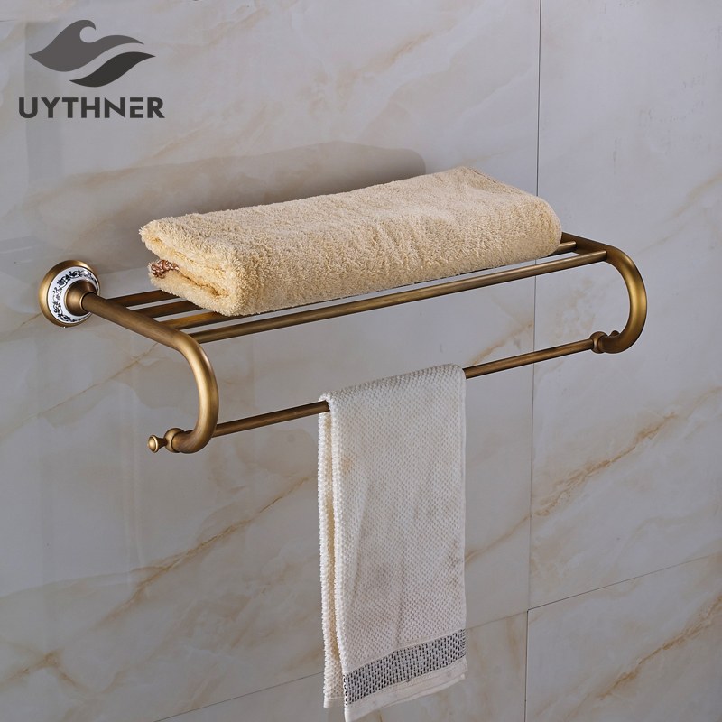 Wall Mounted Antique Brass Bathroom Towel Shelf Single Towel Bar/ Rack Towel Holder Solid Brass Towel Hanger aluminum wall mounted square antique brass bath towel rack active bathroom towel holder double towel shelf bathroom accessories