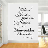 Calcomanía de pared de citas de hogar español Cada Familia Tiene Una Historia Bienvenido a nuestras pegatinas de pared de vinilo decoración del hogar sala de estar z598