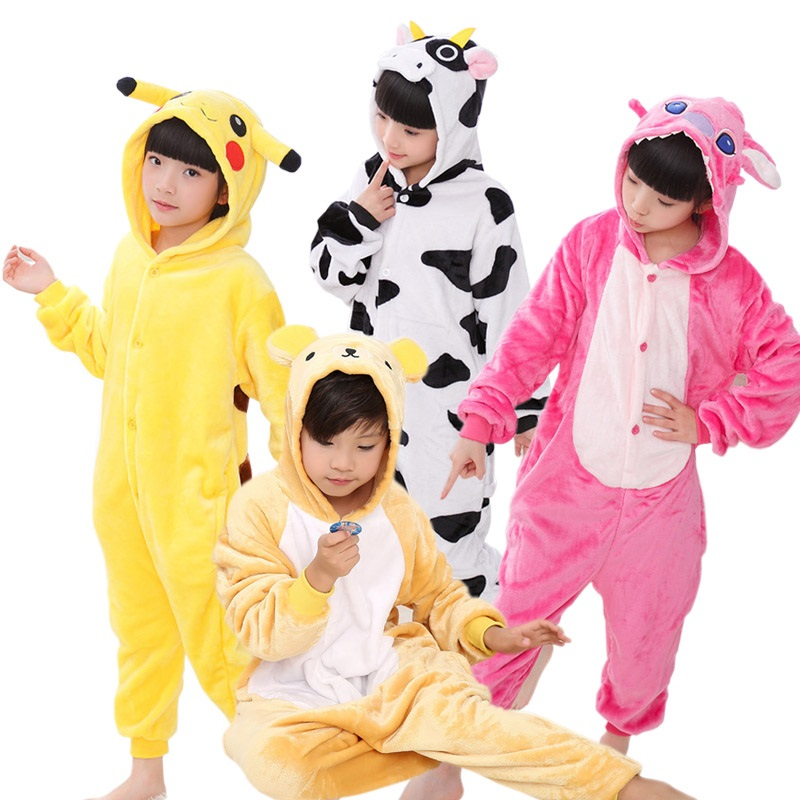 Varma Barn Pyjamas Animal Onsies Flannel Barns Sleepwear Katt Stitch Panda Unicorn Pyjamas För Flickor Boys Nightgown Cosplay