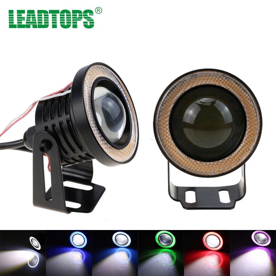 2 pcs/lot Universel Led COB Brouillard Lumières 2.5 pouce 67mm Car Auto Brouillard lampe Ange Yeux Par Voiture Lumière Avec Objectif DC 12 Étanche DRL ÊTRE