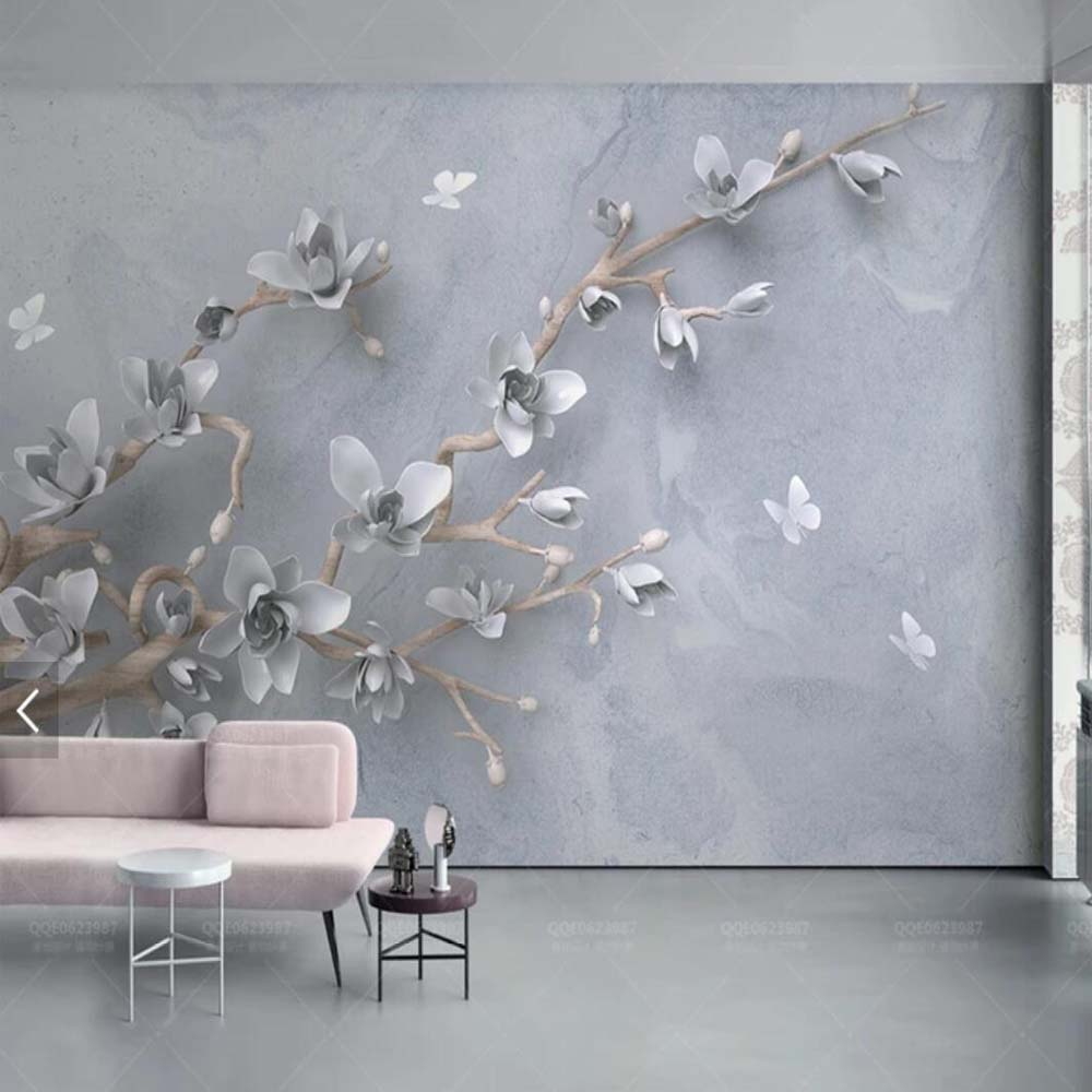 3D Embossed Yulan Magnolia Flower Butterfly Wallpaper Mural for Living Room Floral Decoration Mural Custom Any Size Landscape
