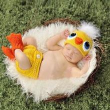 Комплект одежды с милым цыпленком; Детские реквизиты для фотосъемки; вязаные костюмы для малышей