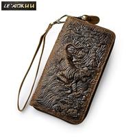 Top Quality Cattle Male Organizal Vintage Genuine Leather Card Holder Checkbook Zipper Around Wallet Purse Clutch