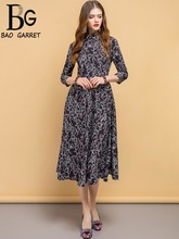 Baogarret New Summer Fashion Designer Dress Womens 3/4 Sleeve Floral Printed Elegant Vintage Vacation Ladies Long Dresses