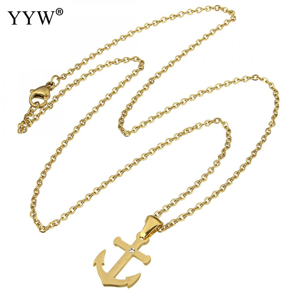 Top Quality Rhinestone anchor hook Jewelry Set viking Stainless Steel Necklace And Earrings Set For Weeding