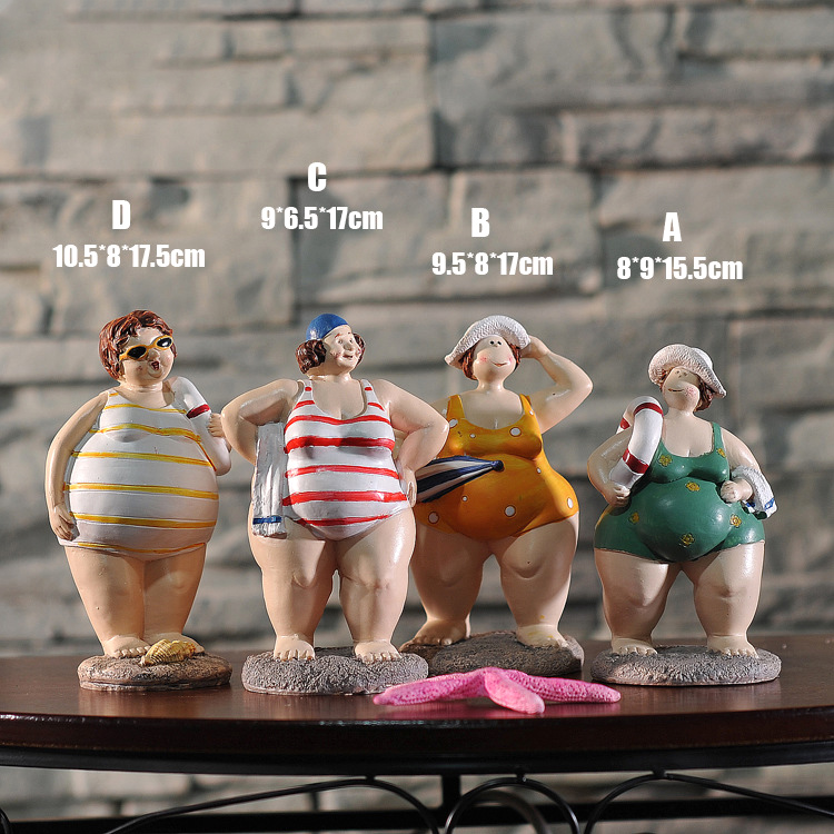 Bikini:  Resin Bikini swimsuit Fat Woman Figurine Mediterranean Style Creative Doll People Home Room Decor Gifts - Martin's & Co