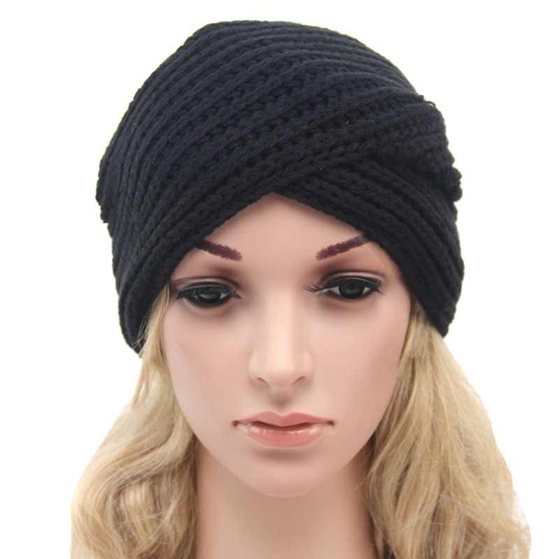 74bc69dfaf7 ... New Knitted Turban Hat For Women Winter Beanies Cap Fashion Ladies  Indian Turban Caps Solid Headwear ...