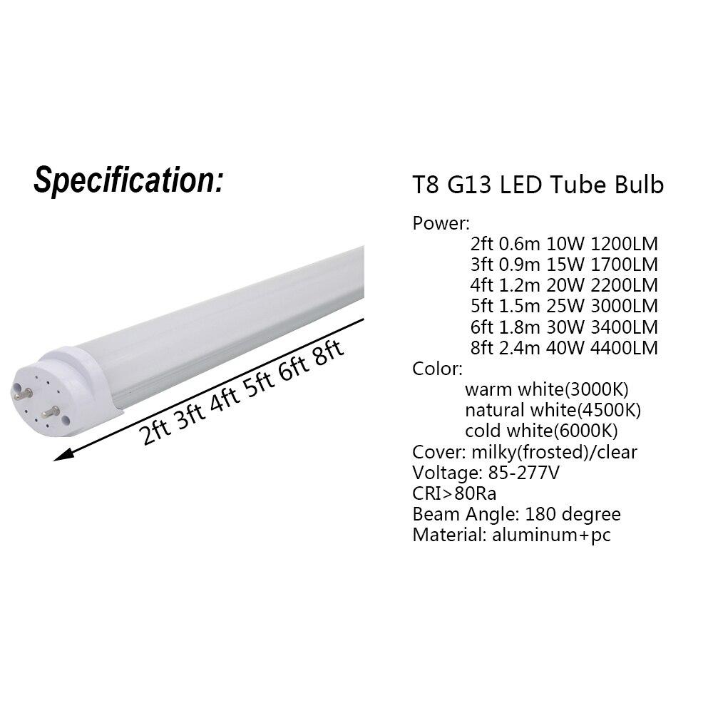 4-100/paquet LED Tube lumière 2ft 3ft 4ft 5ft 6ft ampoule de modification T8 G13 bi-pin lampe fluorescente 0.6 m 0.9 m 1.2 m 1.5 m 1.8 m m barre d'éclairage - 2