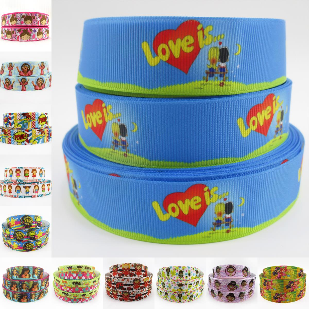 1 25mm boy grils cartoon printed polyester ribbon 50 yards, DIY handmade materials, wedding gift wrap,50Yc1601