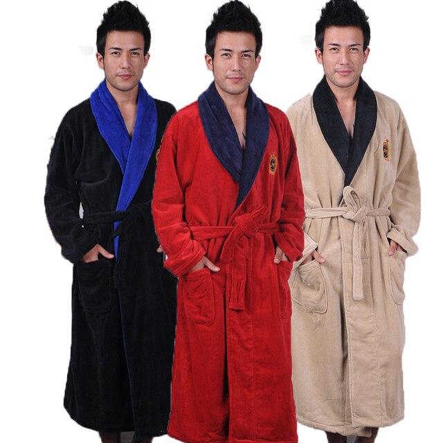 Cotton bathrobe men XXL mens nightgown women nightdress ladies thick ...