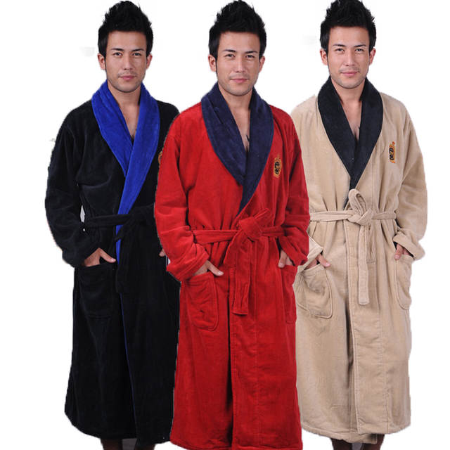 b9abe31af1 placeholder Cotton bathrobe men XXL mens nightgown women nightdress ladies  thick towel fleece soft long warm antumn