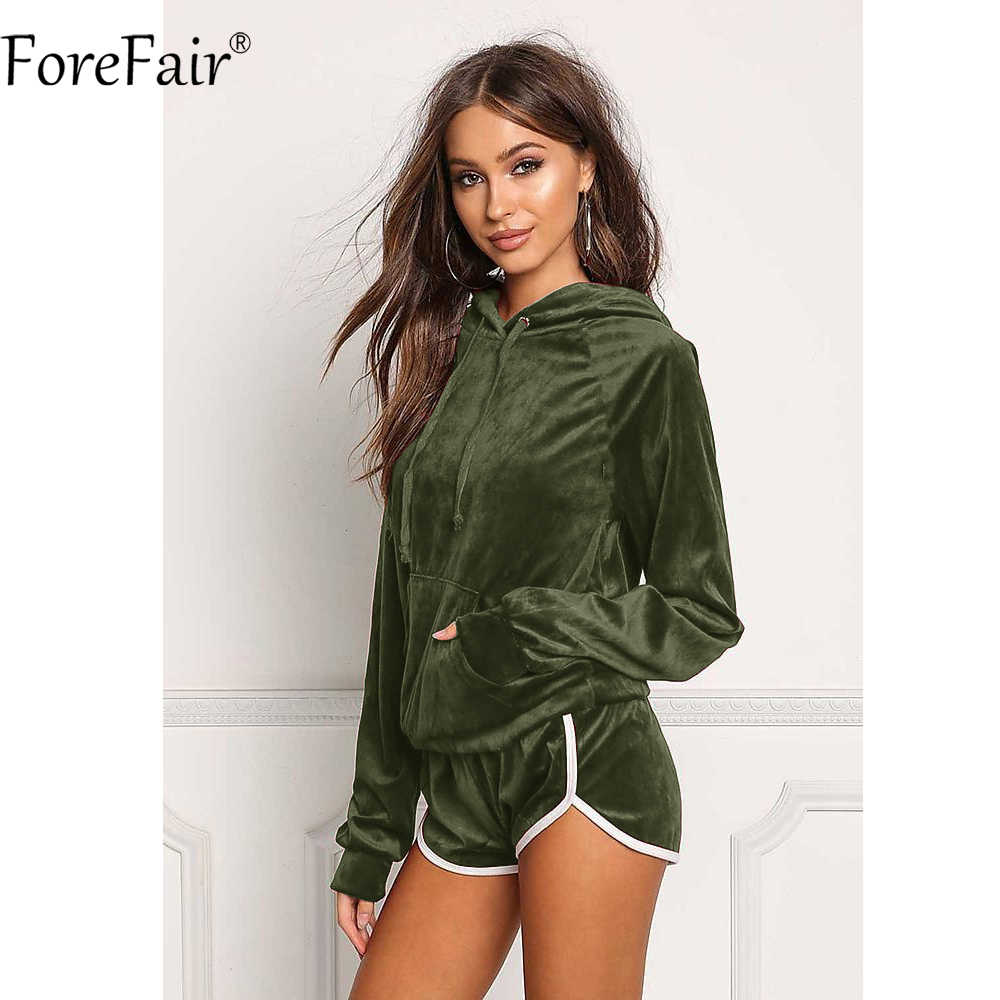 530ddf03074 Detail Feedback Questions about ForeFair Winter Velvet Sexy Playsuit 2  Piece Women Sets Sportswear Front Pocket Hooded Rompers Womens Jumpsuit on  ...