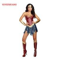 2017新しいワンダーウーマンコスプレ衣装大人夜明けの正義のスーパーヒーローのコスチュームハロウィン仮装プリンセスダイアナコスプ