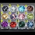 12 Arte Do Prego Do Laser Brilho 2mm Hexagon Shapes Confetti Lantejoulas Dicas Acrílico UV Gel Paillette Lantejoula Forma DIY NailArt decoração