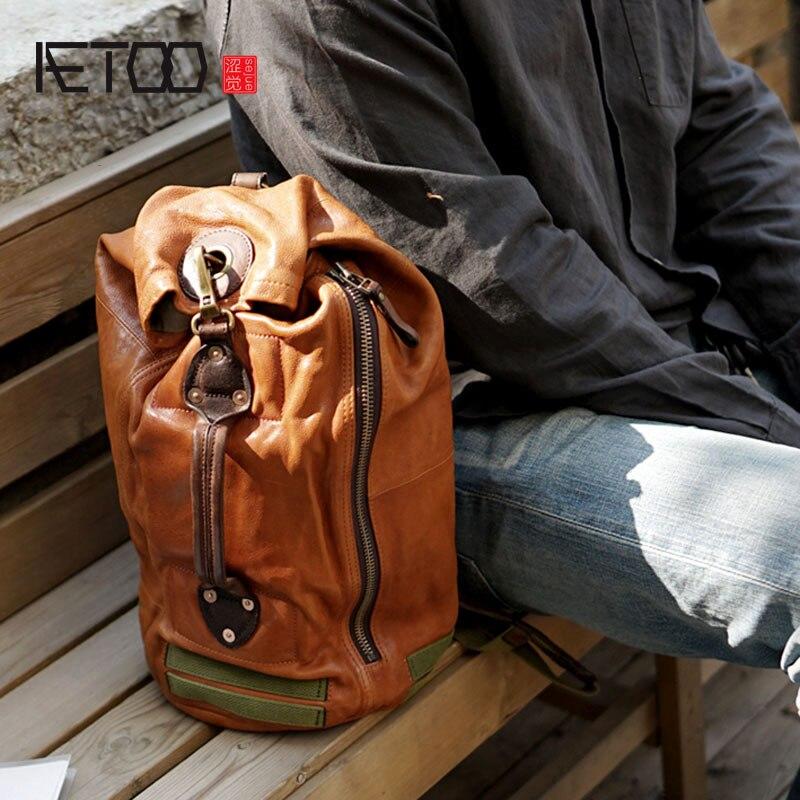 BJYL Vintage sac à bandoulière en cuir de vachette fait main sac à bandoulière poitrine décontracté mâle multi-fonction vieux sac de voyage
