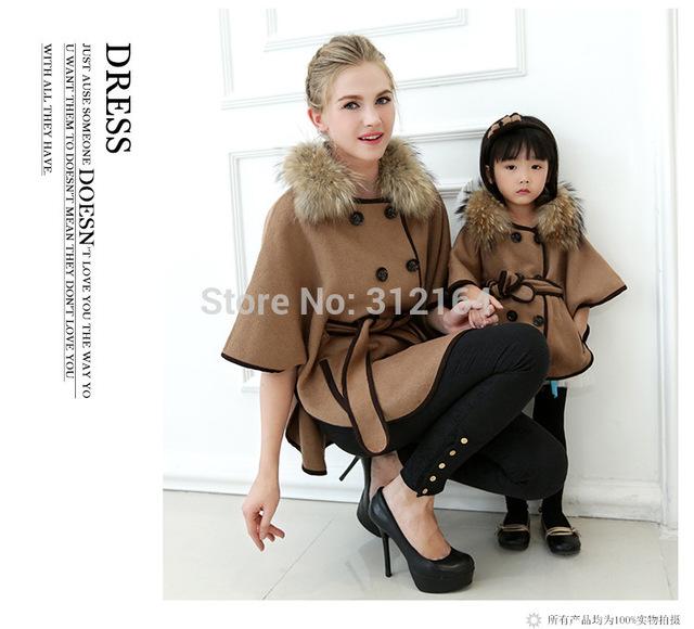 [Bosudhsou] família mãe das mulheres casuais casacos de lã senhora inverno quente brasão manto mon filha menina pai-filho de crianças clothing b3
