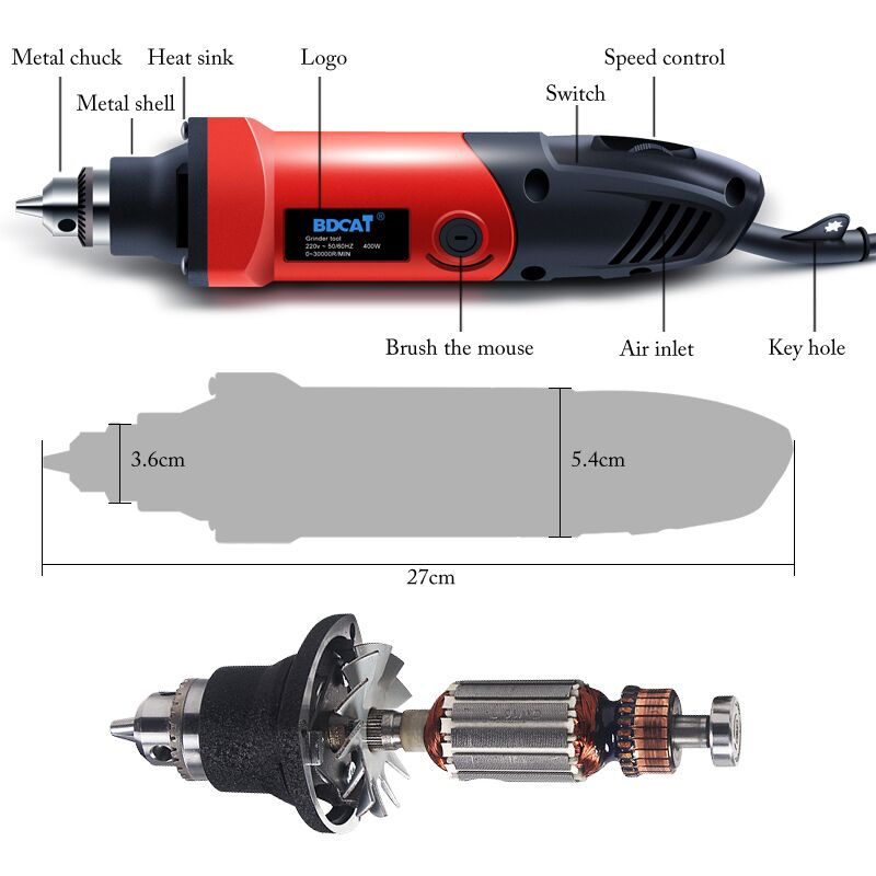 Image 3 - BDCAT 400W Mini Drill Rotary Tool Variable Speed Electric Grinder Engraving Polishing Power Tools with 206pcs Dremel Accessories-in Electric Drills from Tools