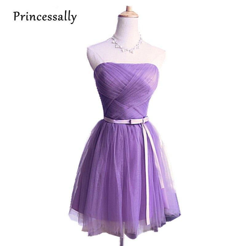 Violet Bridesmaid Dress Lavender Knee Length Strapless Pleat Short ...