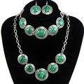 Ocesrio retro conjuntos de jóias de pedra malaquita verde big choker vintage colar brincos conjuntos de jóias de pedra para as mulheres nke-m30