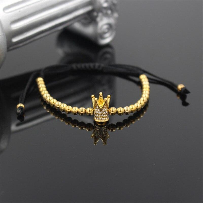 PINIYA Fashion Men's Gold Color Imperial Micro Pave CZ Crown Charm Bracelet Anil Arjandas Braiding Women Bead Macrame Bracelet