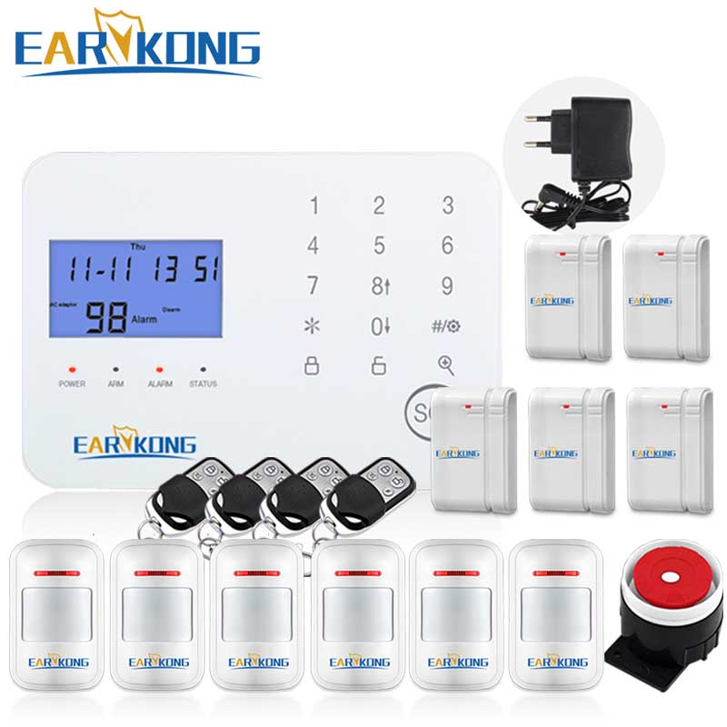 PSTN GSM Alarm System English Russian Spanish French Voice Prompt Touch Keyboard LCD Screen Menu Smart Home Control Relay Output yobangsecurity dual network gsm pstn home security alarm system lcd keyboard english spanish russian voice prompt alarm sensor