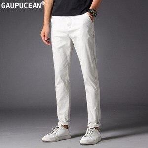 Image 3 - ผู้ชายสบายๆกางเกงผ้าฝ้าย 98% 2% Spandex ฤดูใบไม้ผลิฤดูร้อนฤดูใบไม้ร่วงสีขาวแฟชั่นชายหนุ่มความยาวเต็มรูปแบบยาว Chino Slim Man กางเกง