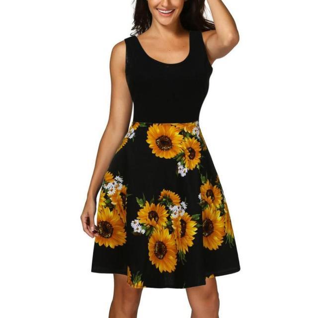 0ee80faffcf9 Vestidos Summer Boho Mini Dress Women Fashion Sunflower Printing Beach  Sundress Ladies Sexy Sleeveless Casual A-Line Dress #JO