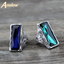 Anslow 2020 Original Design Vintage Retro Large Big Square Crystal Wedding Ring For Women Female Jewelry Accessories LOW0024AR(China)