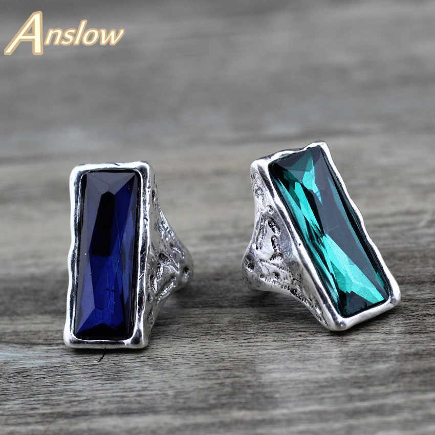 Anslow 2020 ออกแบบ Vintage Retro ขนาดใหญ่สแควร์คริสตัลแต่งงานแหวนหญิงเครื่องประดับ LOW0024AR