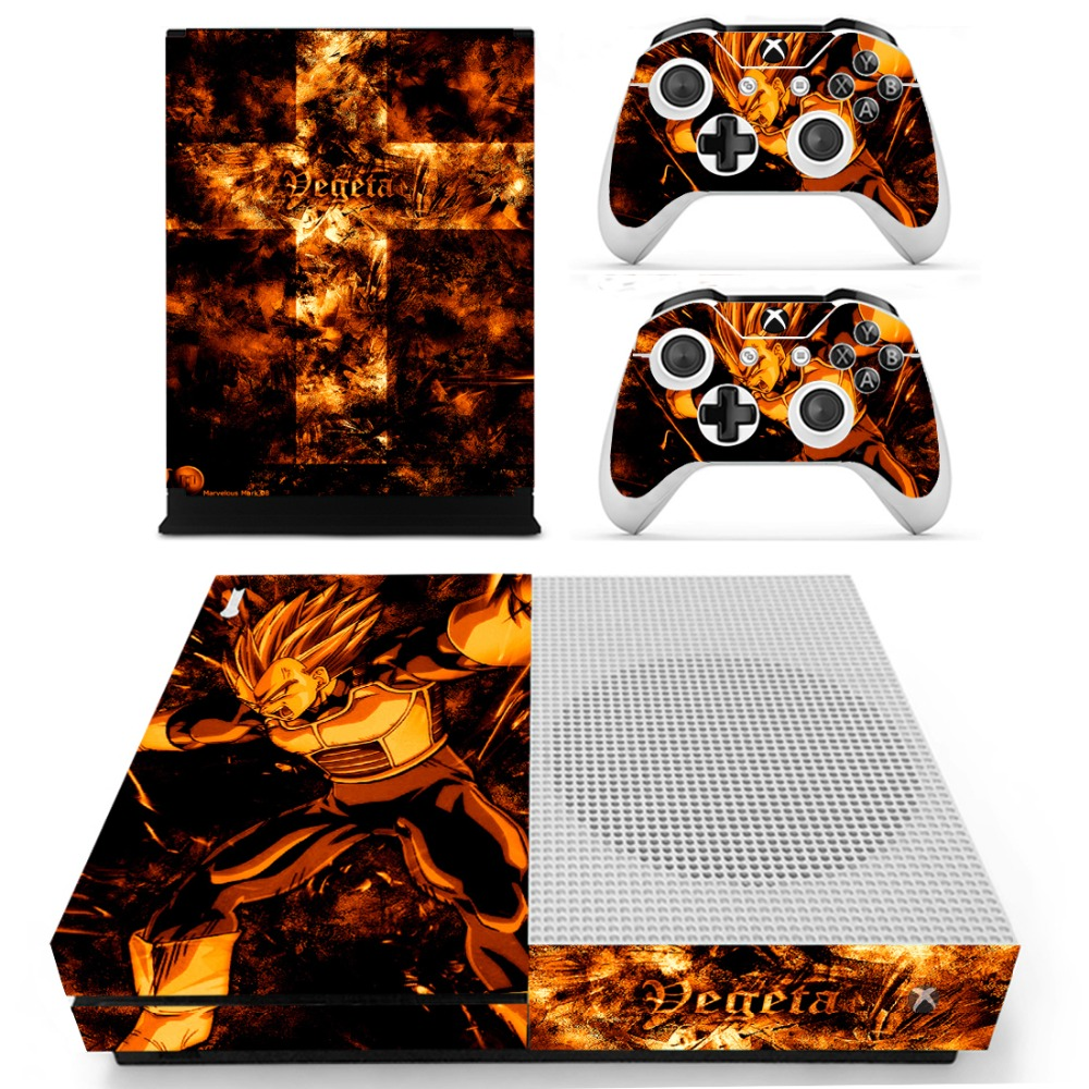 DRAGON BALLZ Vinyl Skin Sticker for the Xbox One S Console With Two Wireless Controller Decals ...