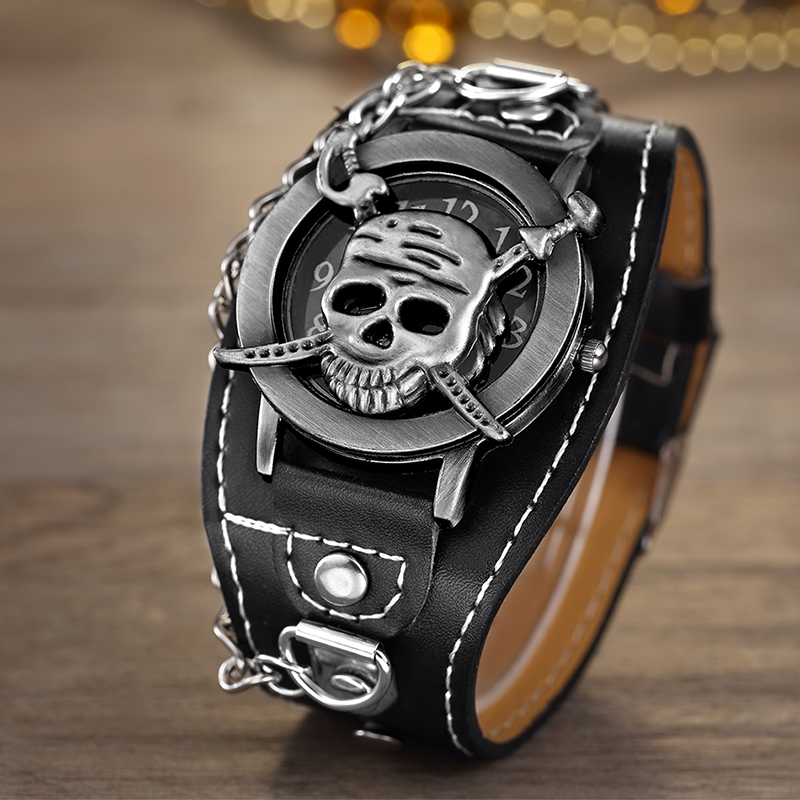 Hot Sales O.T.SEA Brand Copper Pirate Skull Leather Watch Men Women Fashion Punk Sports Quartz Wrist Watch 1831-1