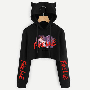 BTS Album Love Yourself Tear Fake Love Kpop Long Sleeve Cropped Hoodies Sweatshirt Women Cat Hooded