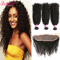 7A Brazilian Virgin Hair With Closure Human Hair Brazilian Kinky Curly Hair With Closure 13x4 Lace Frontal Closure With Bundles