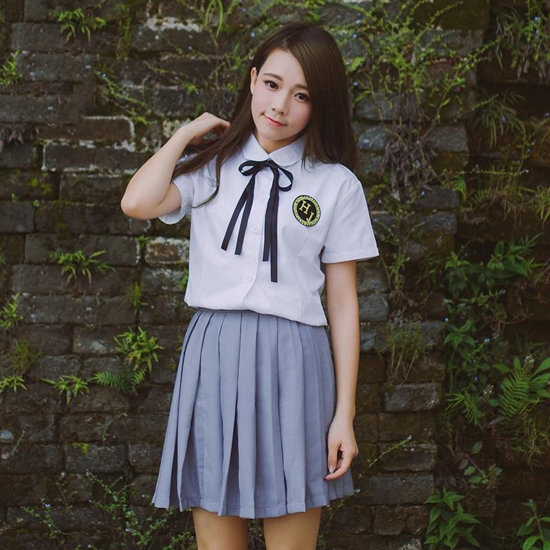 New Summer Korean School Girl Uniform Preppy Style Japanese JK Uniforms White Shirt Grey Skirt Sets XXL