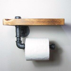 Городская промышленная настенная полка для хранения древесины, железная труба, держатель для туалетной бумаги, ролик, для ресторана, туалет...