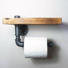 Городских Промышленных Стиль Настенное Крепление Железная Труба Держатель Для Туалетной Бумаги Ролик С Деревянной Полке Ресторан Туалет Ванная Комната Украшения